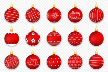 Fotobehang Bol Red Christmas Balls