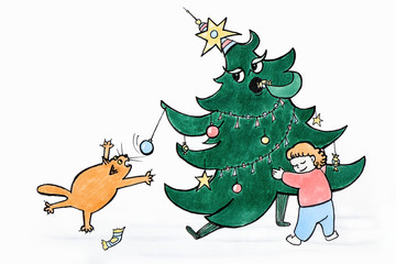 Drawing of a funny situation when a boy saves a Christmas tree from a cat, and he wants to jump on a Christmas ball.Hello, New year!