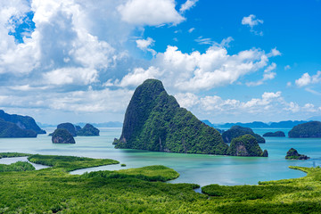 Limestone islands in Phang Nga Bay with clouds and sky