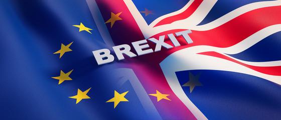 European and UK Flag waving Flag Fotomurales