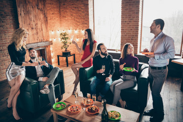 Photo of group birthday party people friendship communicating clinking wineglasses drink golden...