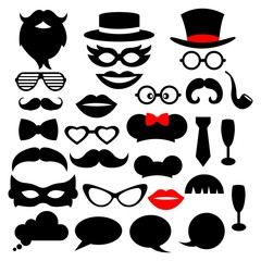 Set of photo booth props for party: mask, mustache, beard, eyeglasses, hat, lips, tobacco pipe, mouse ears, butterfly, tie, wineglass, speech bubble. Vector illustration