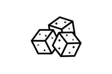 Sugar crystal outline cubes icon isolated on white background. Vector calories or diabetes symbol eps illustration