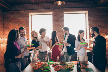 Portrait of nice attractive charming lovely cheerful cheery guy company enjoying meeting social...