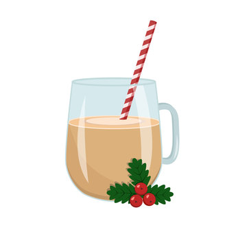 Drink Eggnog in a glass with a striped straw and a Christmas berry Holly. Stock vector graphics