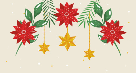 flowers christmas with stars hanging vector illustration design