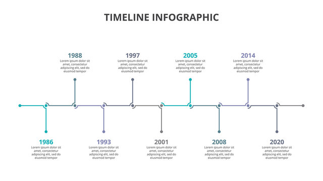 Creative concept for infographic timeline. Process chart. Abstract elements of graph, diagram with 9 steps, options, parts or processes. Vector business template for presentation.
