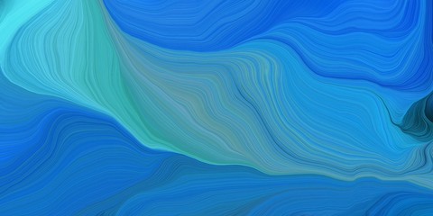 Poster Fractal waves abstract fractal swirl waves. can be used as wallpaper, background graphic or texture. graphic illustration with steel blue, strong blue and medium turquoise colors