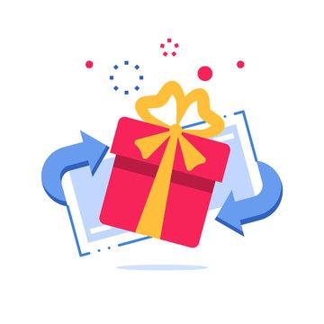 Special reward, prize giveaway, loyalty present, incentive or perks, bonus program