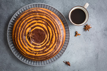 Homemade Zebra cake. Top view.