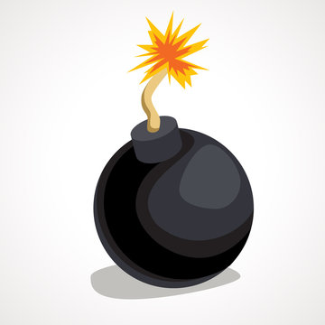 Cartoon round bomb with burning wick. Vector illustration.