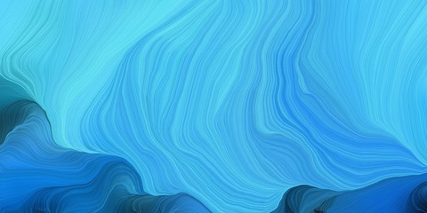 Poster Fractal waves abstract fractal swirl motion waves. can be used as wallpaper, background graphic or texture. graphic illustration with medium turquoise, strong blue and teal green colors