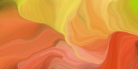 Poster Fractal waves abstract fractal swirl waves. can be used as wallpaper, background graphic or texture. graphic illustration with peru, bronze and pastel orange colors