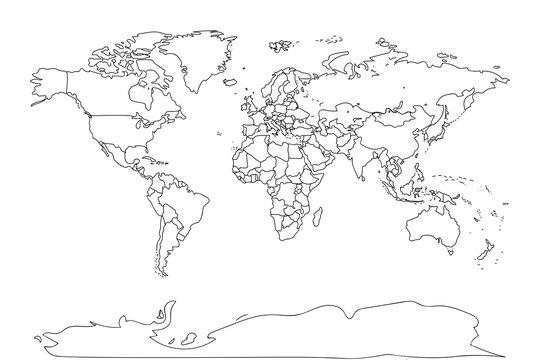Black outline world map. Flat template for banner, poster, web-site, report, infographic, trendy tattoo template. Globe similar worldmap silhouette. Travel concept. EPS10 illustration.