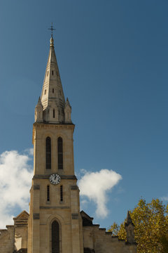 Clocher de l'église d'Audenge sur le Bassin d'Arcachon en Gironde