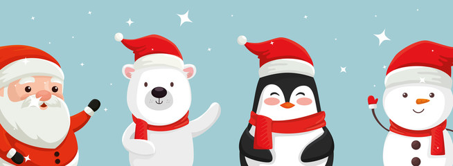 set of characters of merry christmas vector illustration design