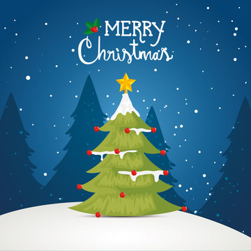 merry christmas poster with pine tree in winter landscape design