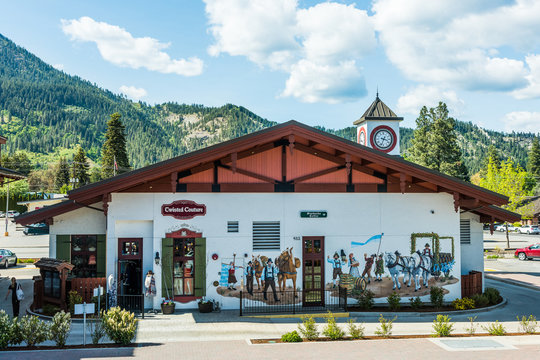 Leavenworth, USA - April 30, 2016: Bavarian Village shop in Washington state called Twisted Couture and Starbucks