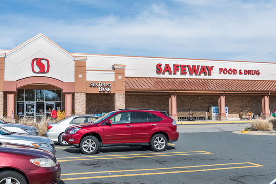 Burke, USA - February 18, 2017: Safeway food and drug store exterior