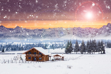 Foto op Plexiglas Zalm Wooden cottage in a fairy-tale winter landscape.