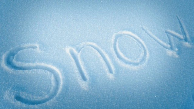 inscription, word on the snow