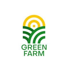 Farm logo design. Organic product. Sun and green field. Minimal vector emblem