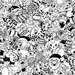 Spoed Fotobehang Draw Christmas Doodles Funny and Cute Black and White Vector Seamless Pattern Design