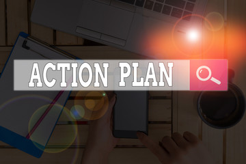 Text sign showing Action Plan. Business photo text detailed plan outlining actions needed to reach goals or vision