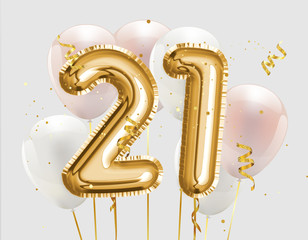Happy 21th birthday gold foil balloon greeting background. 21 years anniversary logo template- 21th celebrating with confetti. Photo stock.