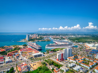 Aerial view of Cruise ships in Puerto Vallarta, Mexico
