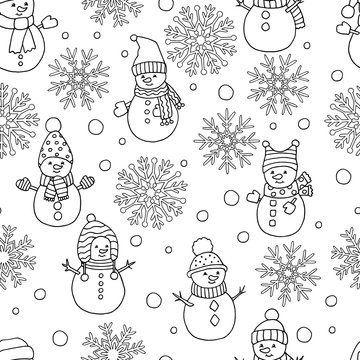 Coloring page with winter Christmas seamless pattern: snowflakes and snowmen