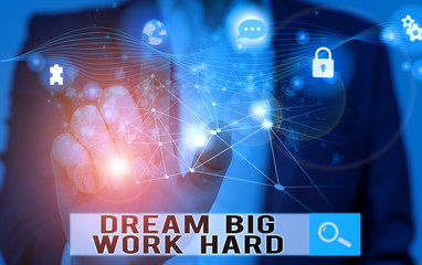 Word writing text Dream Big Work Hard. Business photo showcasing Believe in yourself and follow the dreams and goals Picture photo system network scheme modern technology smart device