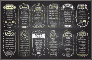 Chalk menu set on a blackboard - sweets, salads, breakfast, starters, sandwiches, etc.