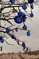 Nazars, lucky charms against evileye, hanging from a tree branch. Uchisar. Cappadocia. Turkey
