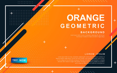 Abstract orange background. Geometric element design with dots decoration. Fototapete
