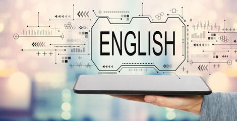 English concept with man holding a tablet computer