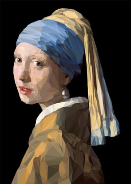Vector LowPoly Reproduction of Girl with a Pearl Earring