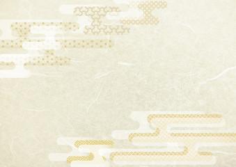 Fototapeta 和風雲型和柄白・金色背景和紙テクスチャ obraz