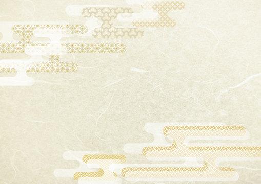 和風雲型和柄白・金色背景和紙テクスチャ
