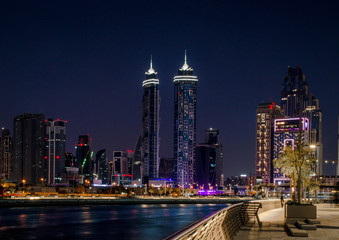 Printed roller blinds Dubai Dubai skyline at night