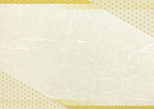 和風和柄フレームベージュ・金色背景和紙テクスチャ