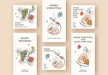 Holiday Social Media Greetings Set with Minimalist Line Art Illustrations