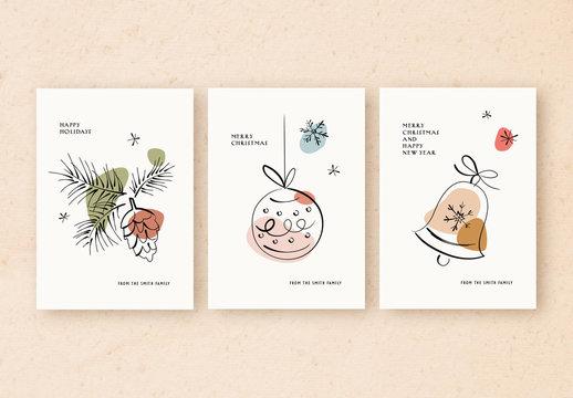 Holiday Card Layout Set with Minimalist Line Art Illustrations