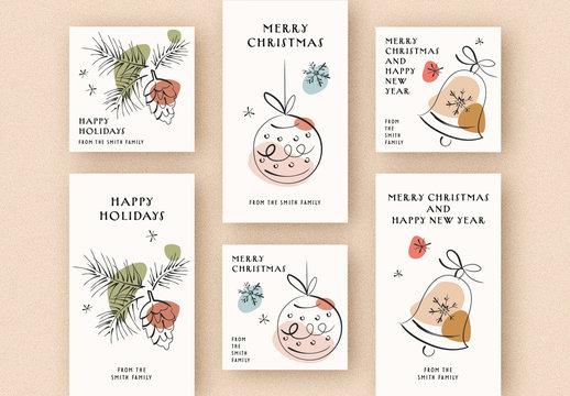Holiday Social Media Greetings Set with Minimalist Line Art Illustrations
