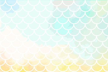 Light yellow-blue mermaid scales. Fish scales. Underwater sea pattern. Vector illustration. Perfect for print design for textile, poster, greeting card, invitation.