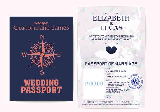 Wedding passport. Wedding for decoration design. Modern invitation template vector design. Vector romantic, modern template.