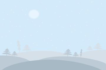 Printed kitchen splashbacks Light blue winter landscape with trees