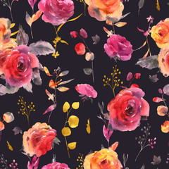 Gentle watercolor floral seamless pattern. Red, yellow, watercolor roses - flowers, twigs, leaves, buds.