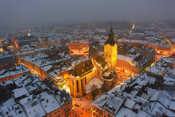 In de dag Oost Europa Gorgeus cityscape of winter Lviv city from top of town hall, Ukraine. Landscape photography