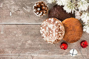 Variety of German Lebkuchen, Gingerbread with Christmas Decoration on Wood